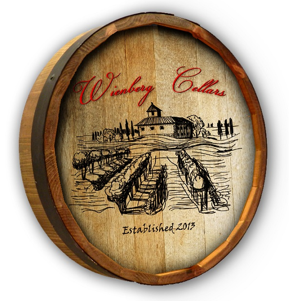 Personalized Rustic Wine Cellar Oak Quarter Barrel Sign OBC_QB_COLOR