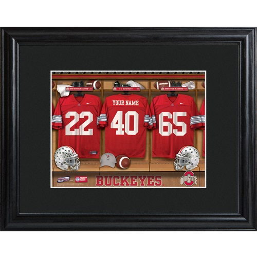 Ohio State Buckeyes Locker Room Print With Black Frame Ohio State