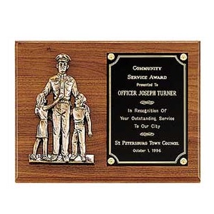 Police Awards: Police Plaque With Bronze Casting P1965