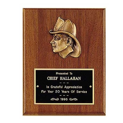 Firefighter Plaque With Bronze Fireman P2793