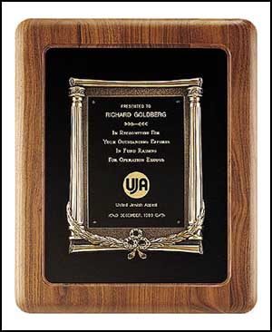 Walnut Frame Plaque With Bronze Casting P2984
