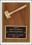 Goldtone Gavel On Walnut Plaque PG2780