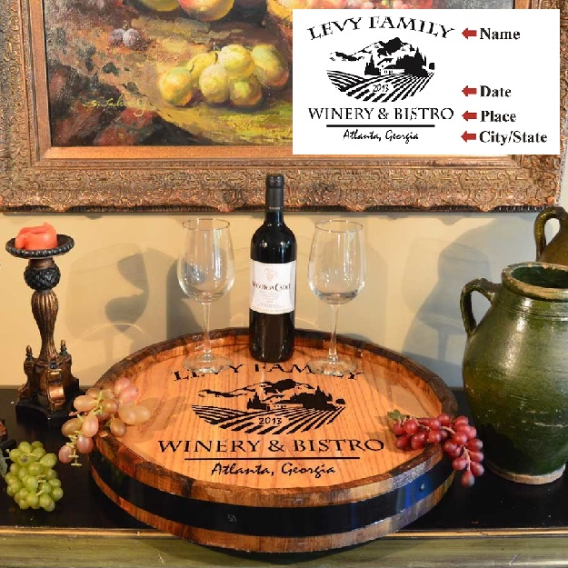 Personalized Winery Bistro Quarter Barrel Lazy Susan QBLZ_B314