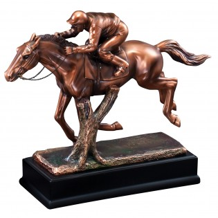 Bronze Race Horse Statue With Jockey RFB061