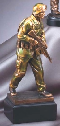 Resin Camo Colored Soldier Statue