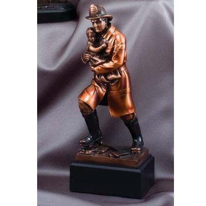 Heroic Baby Saving Firefighter Resin Statue Award RFB064