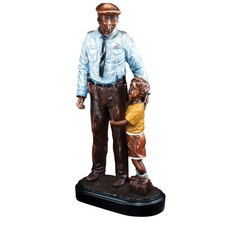 Personalized Resin Police Statue With Child RFB104