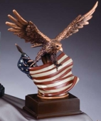 Eagle Resin With Rustic Flag RFB138