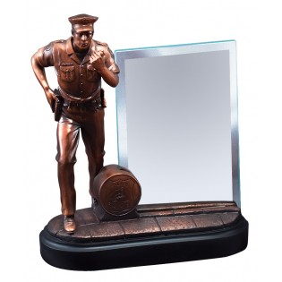 Bronze Resin Police Statue With Glass Engraving Plate RFB153