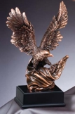Bronze Eagle Statue With American Flag RFB810