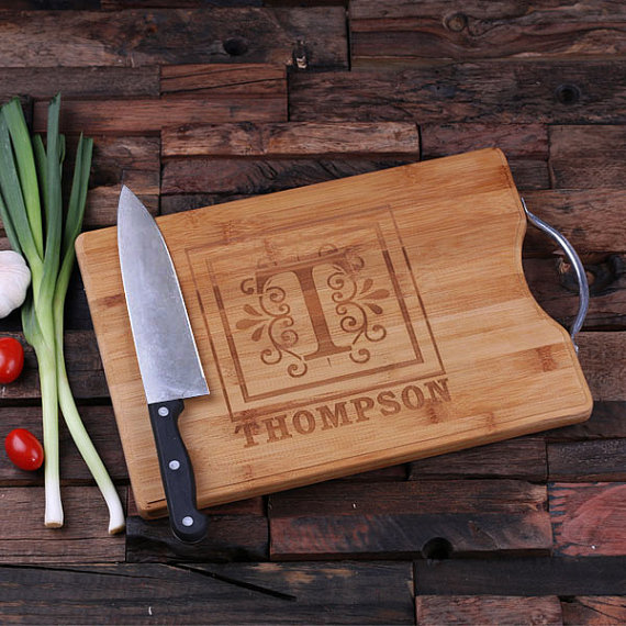 engraved wood cutting board with steel handle personalize at