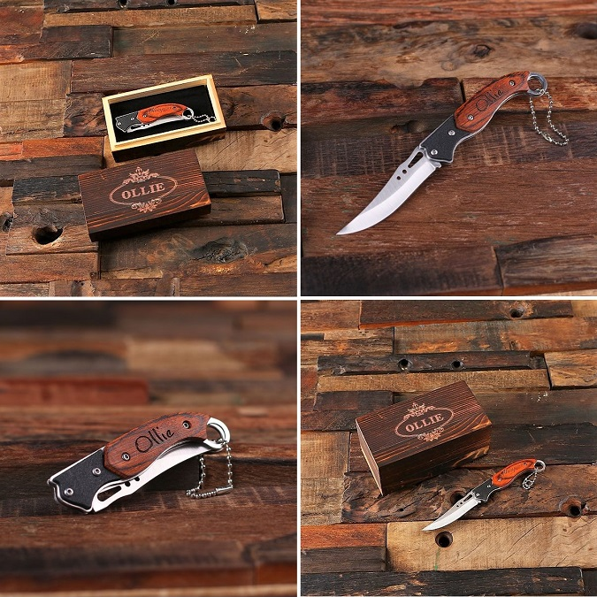 Engraved Wood Bowed Hunting Pocket Knife TP-024243