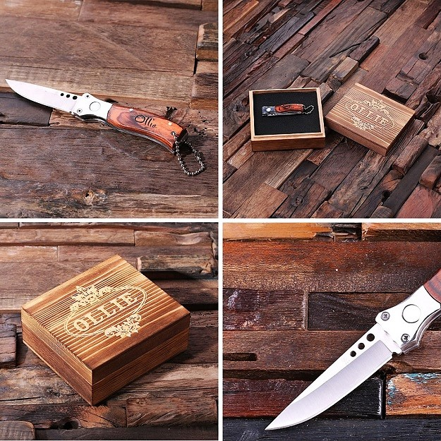 Engraved Wood Pocket Knife Dagger