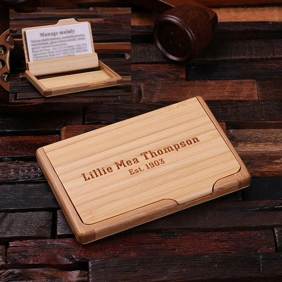 Engraved Wood Flip Business Card Holder TP-024272
