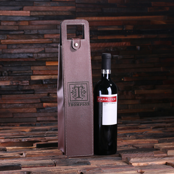 Engraved Brown Leather Wine Bottle Holder TP-024273_Brown
