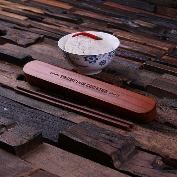 Engraved Bamboo Box With Chopsticks TP-024293