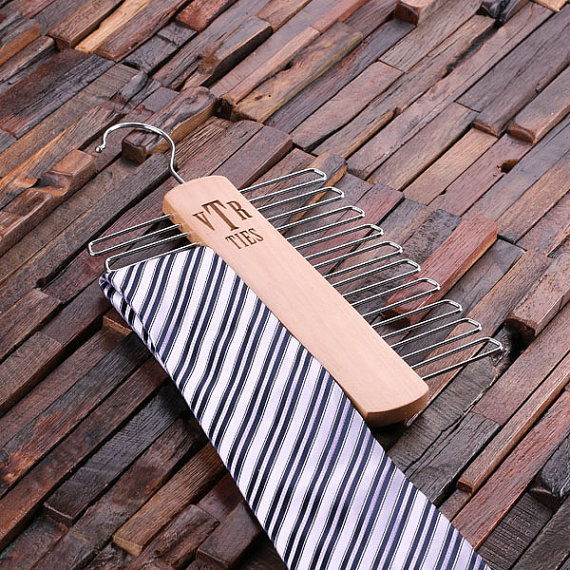 Engraved Wood Tie Rack Hanger TP-024465