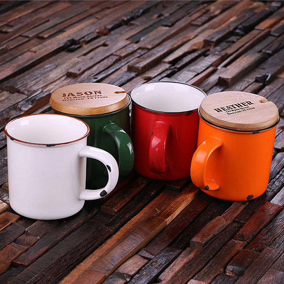 Engraved Bamboo Lid 11oz and Rustic Ceramic Mug TP-024486