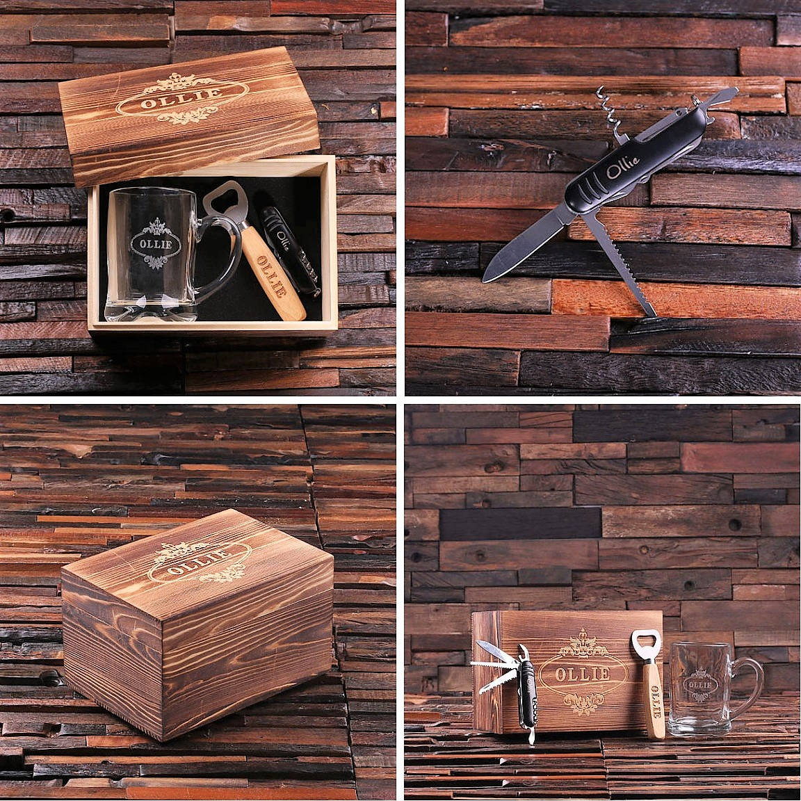 Custom 4 Piece Groomsmen Gift Set With Keepsake Box TP-024618
