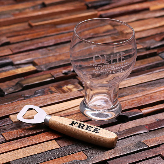 Engraved 16oz Brewmaster Glass and Bottle Opener Set TP-024695
