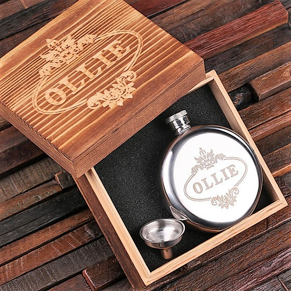 Engraved Round 5oz Stainless Steel Flask TP-024842