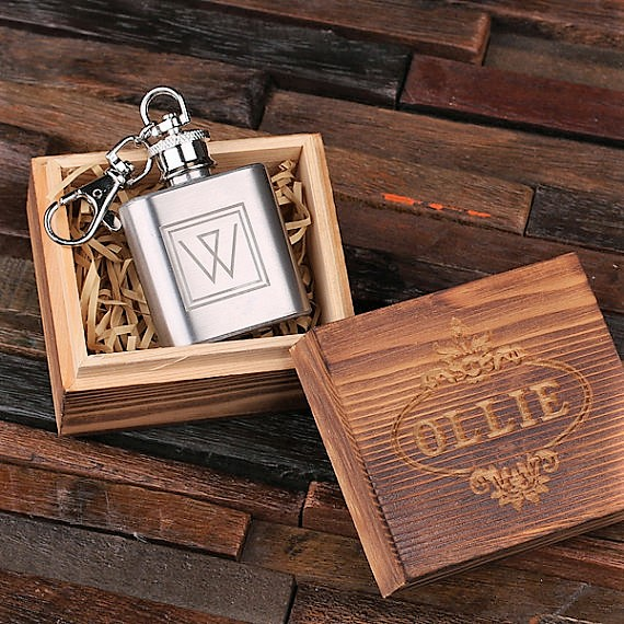 Monogrammed 1oz Flask Key Chain TP-024844