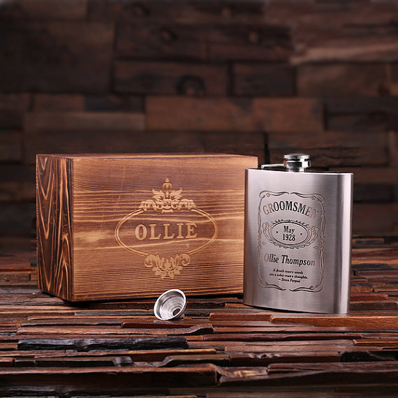 Engraved Steel 8oz Gentlemans Flask With Funnel