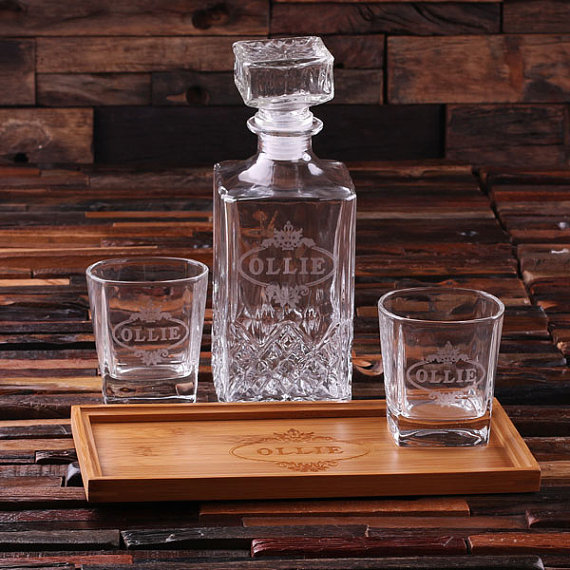 Custom Bar Tray Set With Decanter and 2 Whiskey Glasses TP-024880