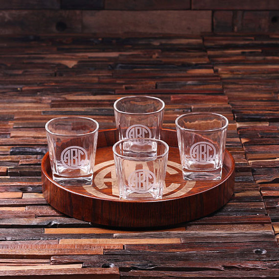 Engraved Grand Tray Set With 4 Whiskey Glasses TP-024895