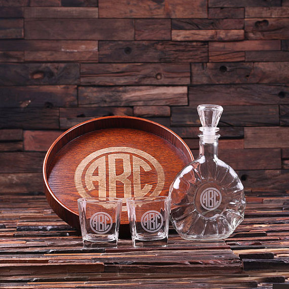 Engraved Grand Tray Decanter Set With 2 Whiskey Glasses TP-024896