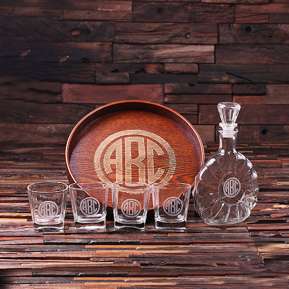 Engraved Grand Tray Decanter Set With 4 Whiskey Glasses TP-024897