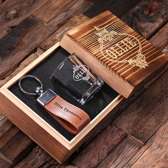 Engraved Groomsman Gift Set With Keychain Shot Glass TP-024908