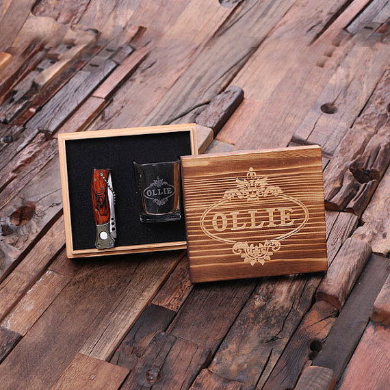 Engraved Box Gift Set With Knife and Shot Glass TP-024911