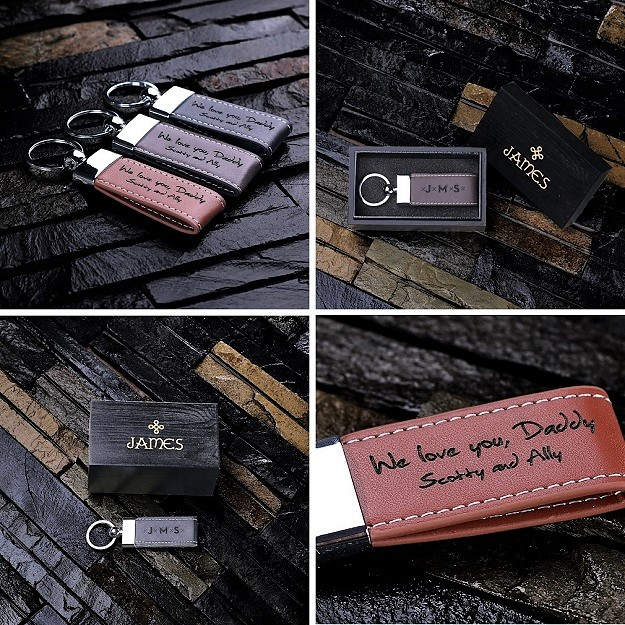 Personalized Leather Stitched Keychain TP-024917BLK
