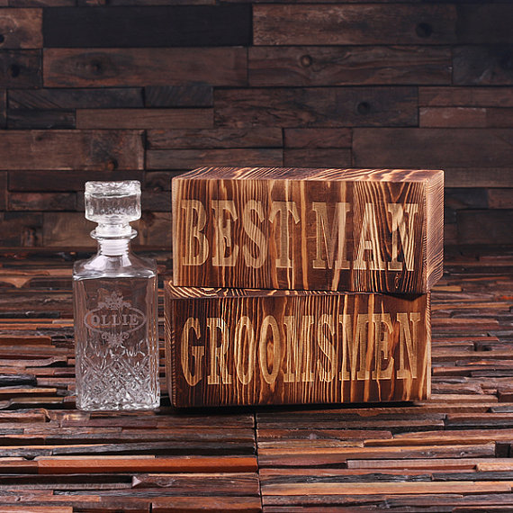 Engraved Whiskey Decanter With Wooden Box TP-024939