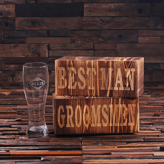 Personalized 24oz Pilsner Beer Glass With Wood Box TP-024940