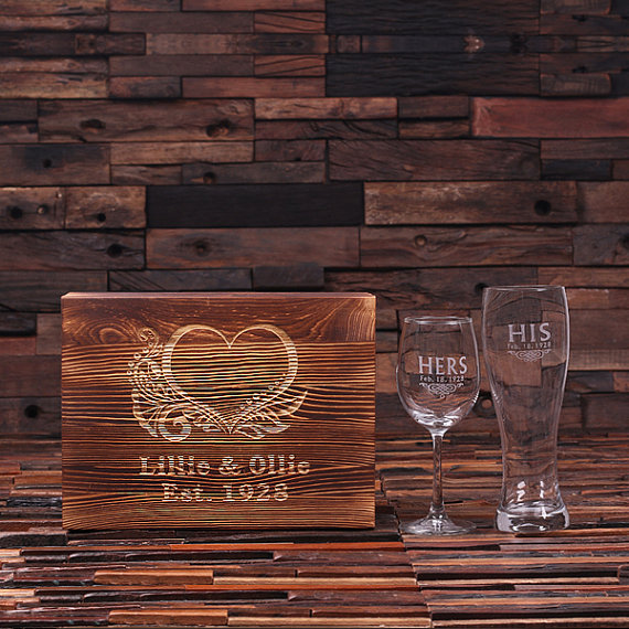 Etch Engraved Wedding Wine Glass and Beer Glass TP-024942