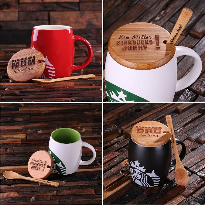 Starbucks Mug With Engraved Bamboo Lid and Spoon TP-024957