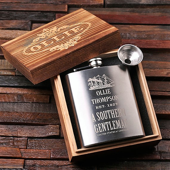 Engraved Antique Ship 7oz Steel Flask With Funnel TP-024982