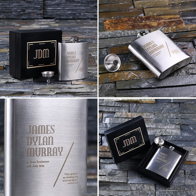 Personalized Mint Gent 7oz Flask With Funnel TP-024982BLK