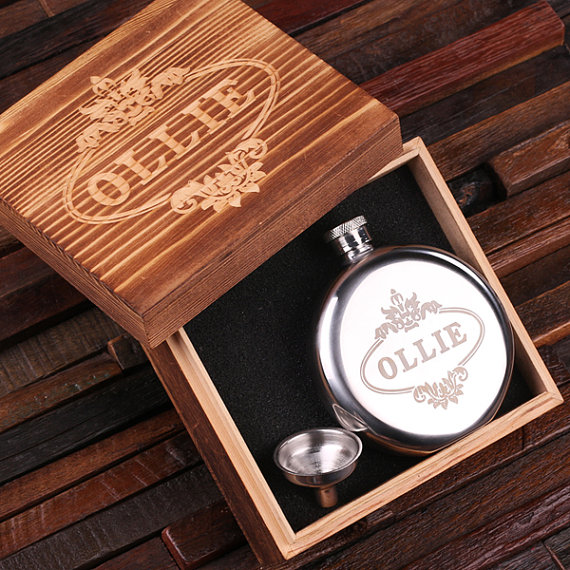 Custom Round 5oz Stainless Steel Flask With Wood Box TP-024988