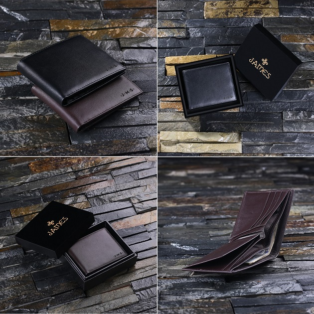 Monogrammed Men's Bifold Leather Wallet TP-024990BLK