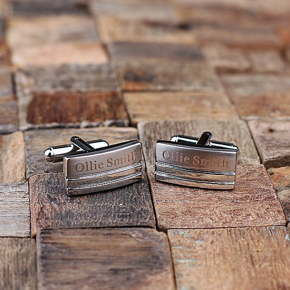 Engraved Rectangular Stripe Cufflinks TP-025053