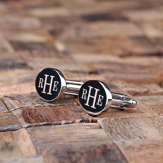 Engraved Silver Monogram Oval Cufflinks