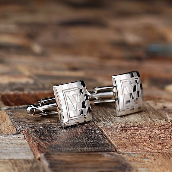 Engraved Checkered Monogram Cufflinks TP-025059