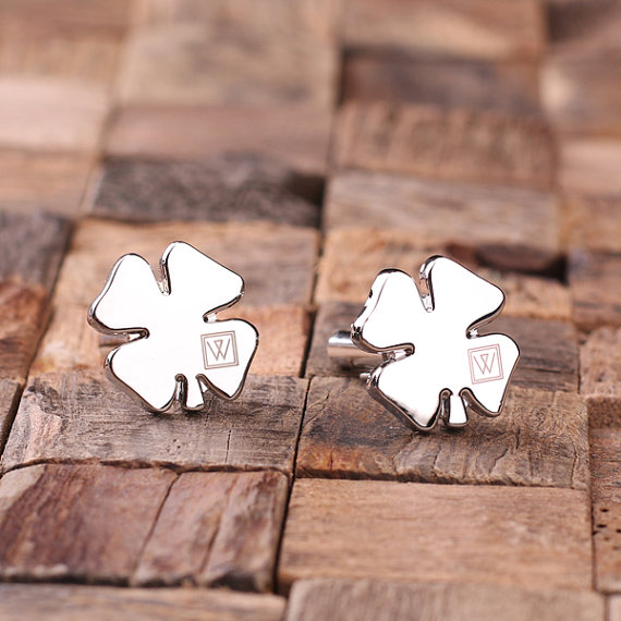 Engraved Lucky 4 Leaf Clover Cufflinks TP-025065