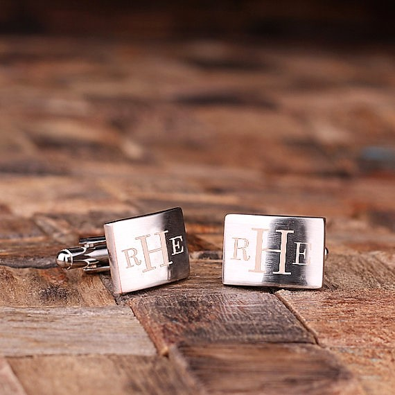 Engraved Silver Monogram Rectangle Cufflinks