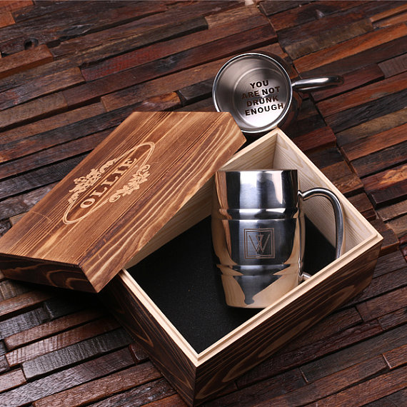 Personalized 14oz Stainless Steel Beer Mug Boxed Set TP-025081