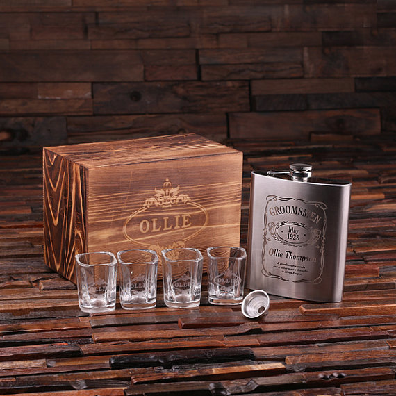 Personalized 4 Piece Flask and Shot Glasses Gift Set