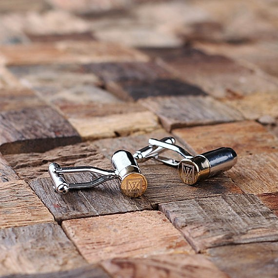 Engraved Two Tone Bullet Cufflinks TP-025086